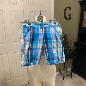 Justice Girls Blue Plaid Long Shorts Size 10R